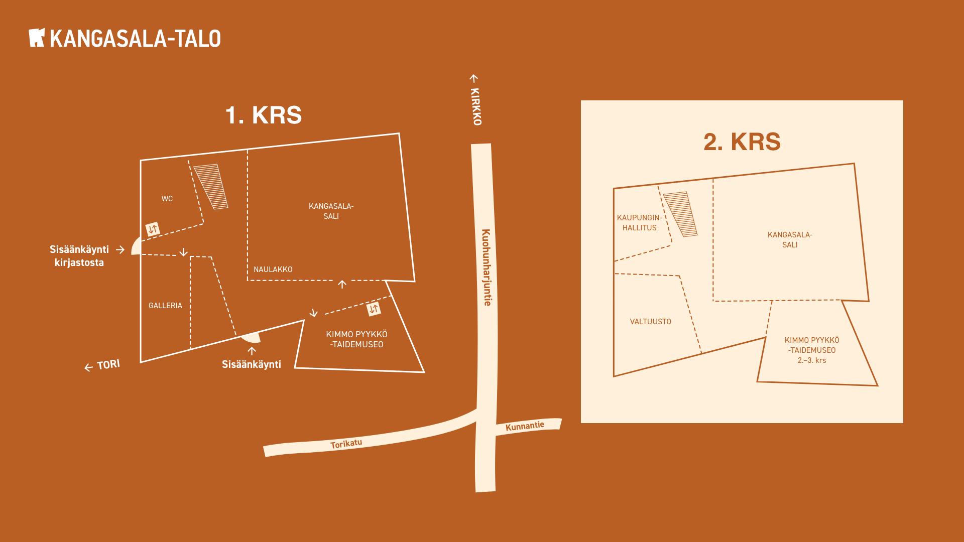 Kangasala-talon pohjakartassa on merkittynä talon sijainti Kuohunharjuntien varrella Torikadun läheisyydessä, sekä talon 1., 2. ja 3. kerroksen tilat.