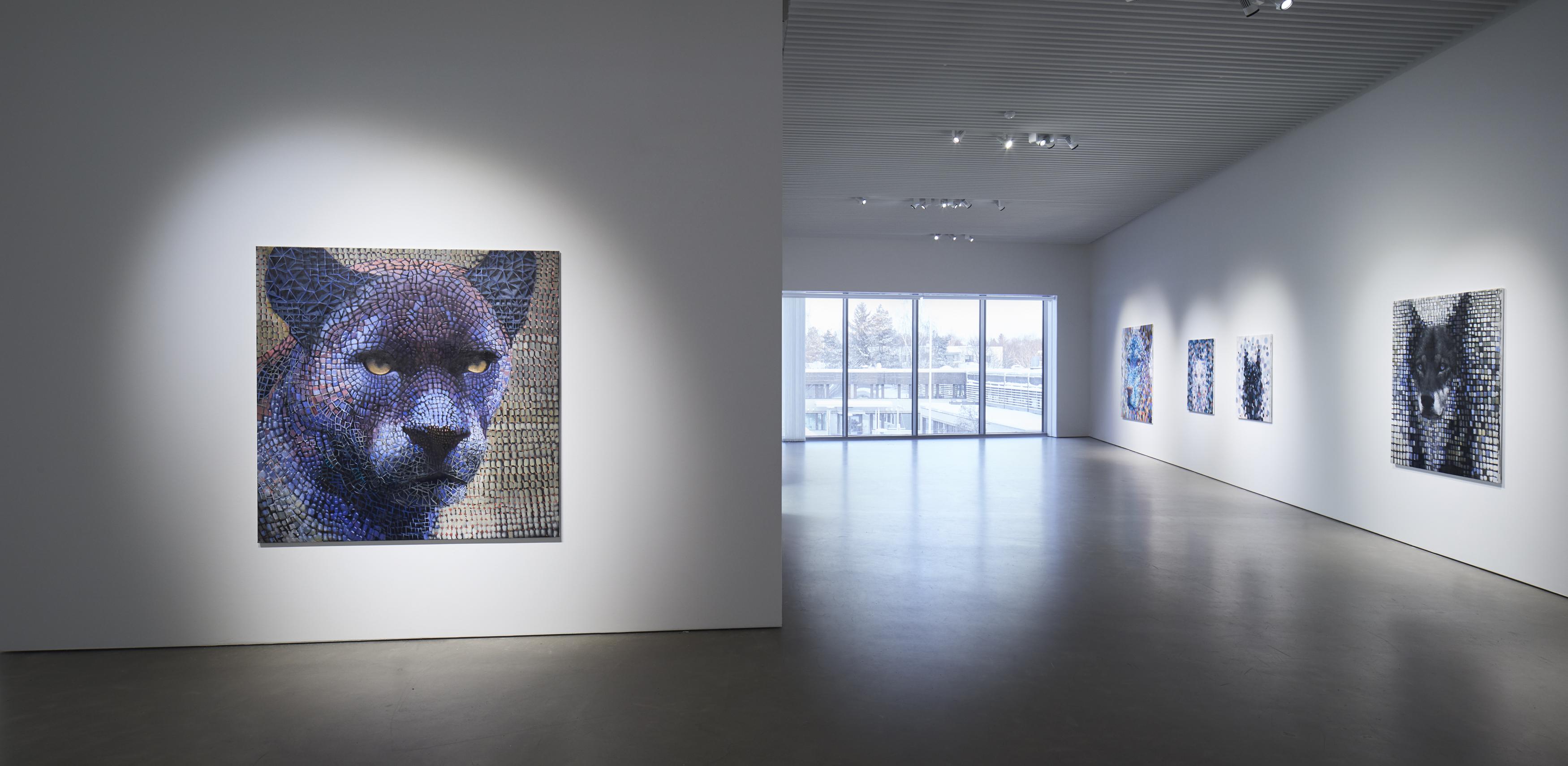 Samuli Heimosen näyttely Monesta yksi ripustettuna Kimmo Pyykkö -taidemuseon toisessa kerroksessa.
