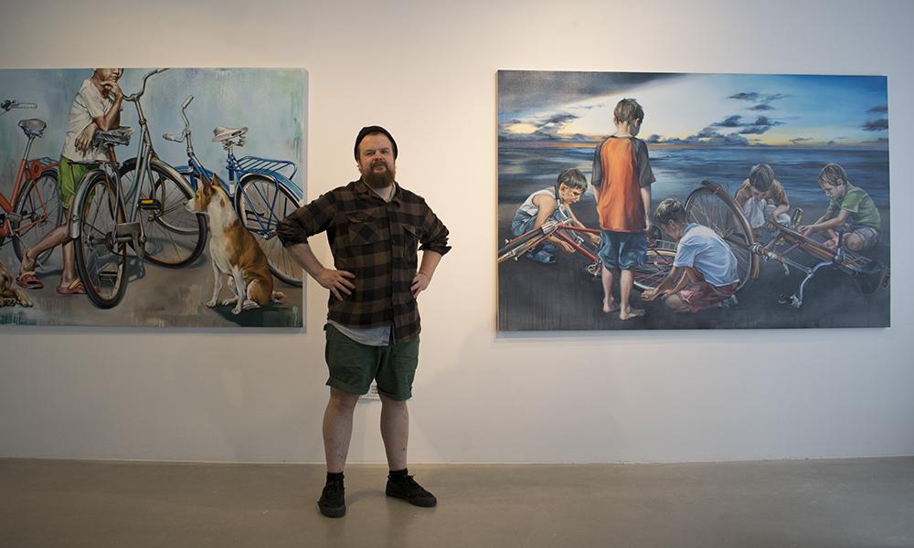 Erno Peltosen näyttely Aamusta iltaan Kangasala-talossa kesällä 2019.