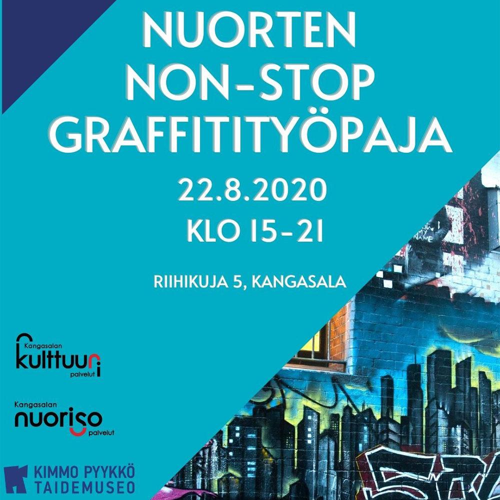 Nuorten non-stop graffitityöpaja Kangasalla 22.8.2020