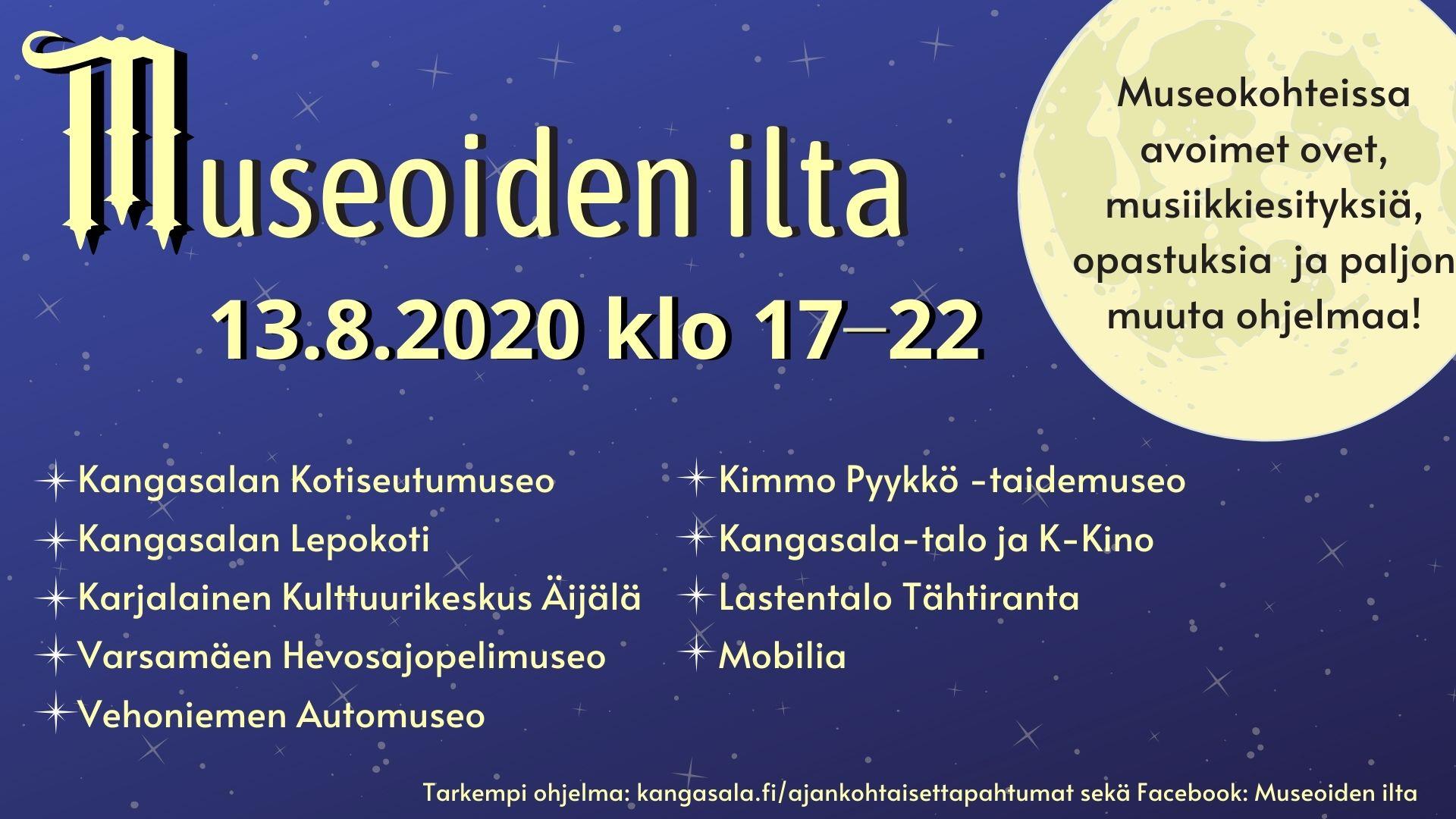 Museoiden ilta Kimmo Pyykkö -taidemuseossa ja Kangasala-talossa to 13.8.2020.