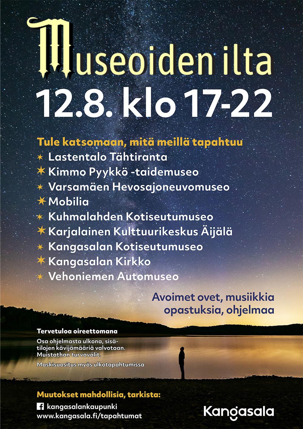 Kimmo Pyykkö -taidemuseo osallistuu Kangasalan Museoiden iltaan 12.8.2021 klo 17-22.